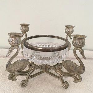 Vintage Silver Swan Candlestick Holder Centerpiece